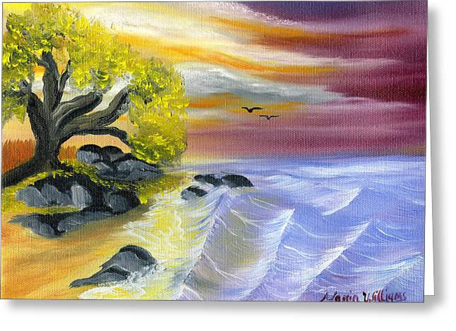 That Yellow Tree By The Sea Greeting Card by Maria Williams