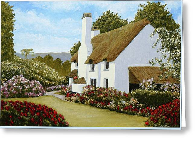 Thatched Cottage, Selworthy Greeting Card by Mark Woollacott
