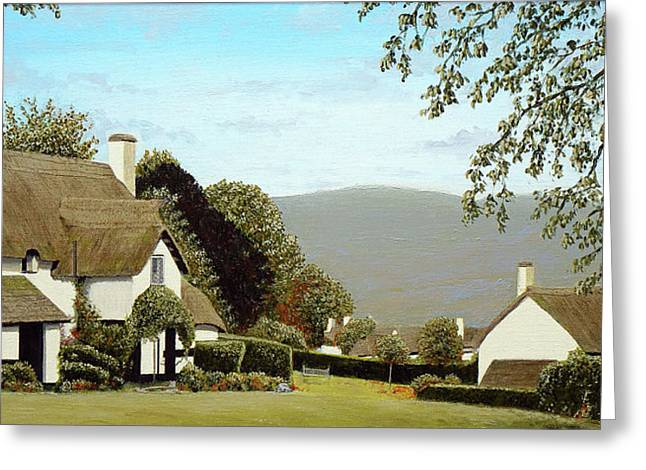 Thatched Cottages At Selworthy, Somerset Greeting Card by Mark Woollacott