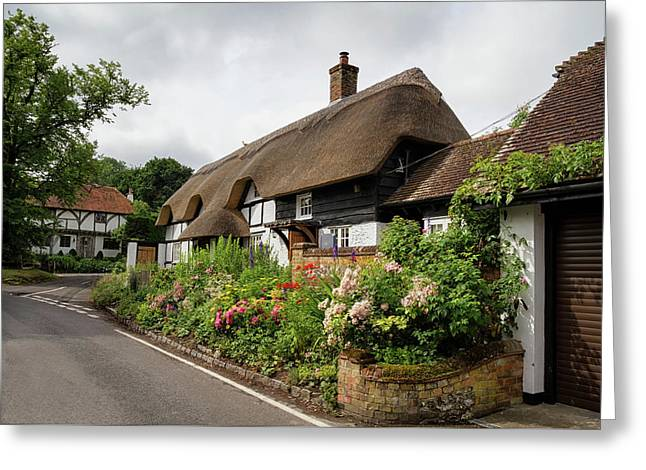 Thatched Cottages In Micheldever Greeting Card