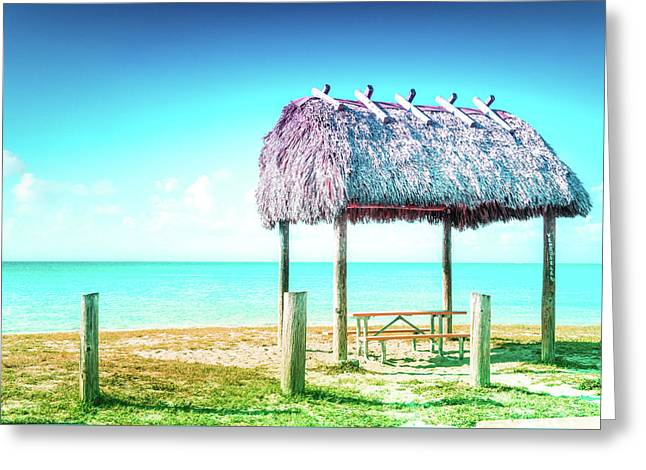 Thatched Roof Hut On Beach Greeting Card