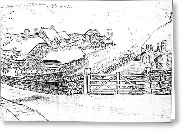 Thatched Roof Stone Cottages Greeting Card by Hazel Holland
