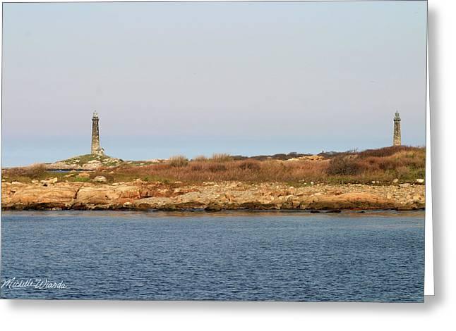 Thatcher Island Twin Lights Gloucester Massachusetts Greeting Card