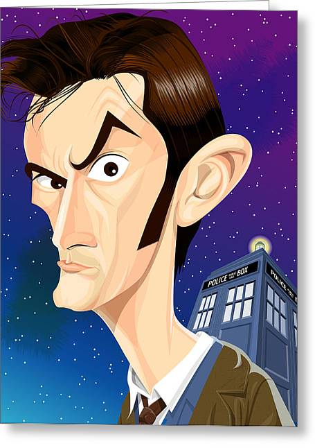 The 10th Doctor Greeting Card by Kevin Greene