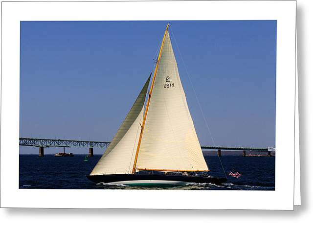 The 12 Meter Newport Greeting Card by Tom Prendergast