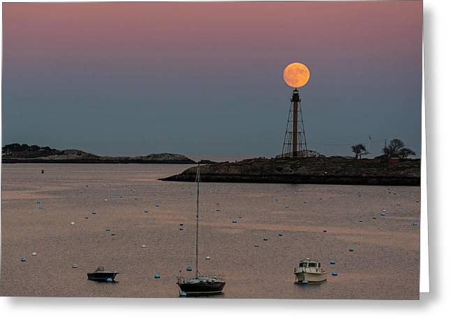 The 2016 Supermoon Balancing On The Marblehead Light Tower In Marblehead Ma Greeting Card