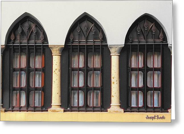 The 3 Windows Greeting Card by Digital Oil