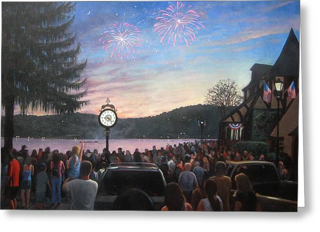 4th July Paintings Greeting Cards - the 4th of July on Lake Mohawk Greeting Card by Tim Maher