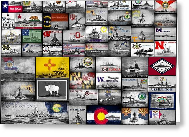 The 50 States And Their Battleships Greeting Card by JC Findley