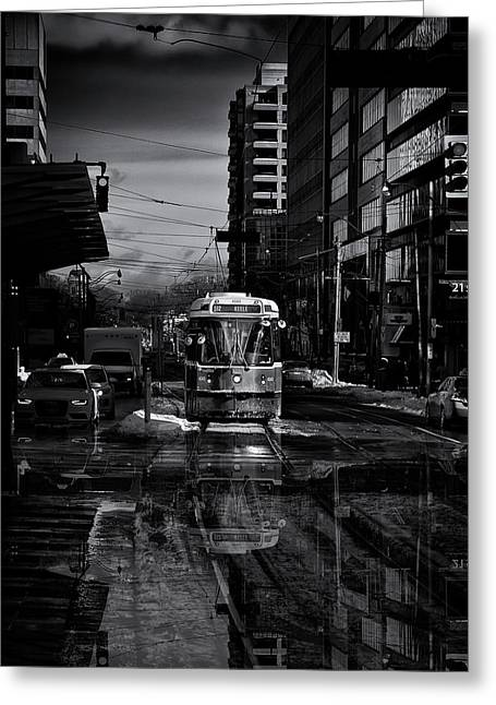 The 512 St. Clair Streetcar Toronto Canada Reflection Greeting Card by Brian Carson