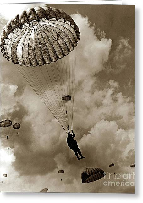 The 82nd Airborne  Hits The Silk Fort Ord 1953 Greeting Card