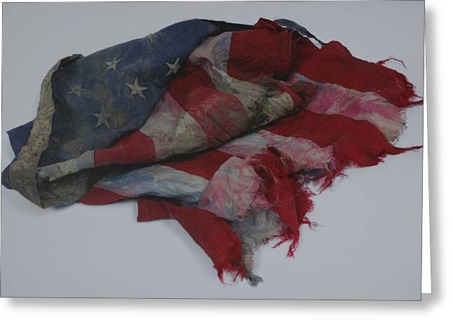 The 9 11 W T C Fallen Heros American Flag Greeting Card by Rob Hans
