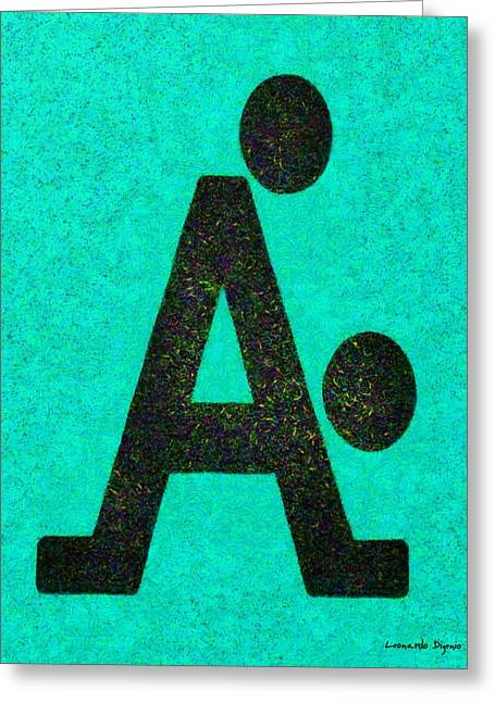 The A With Style Cyan - Pa Greeting Card