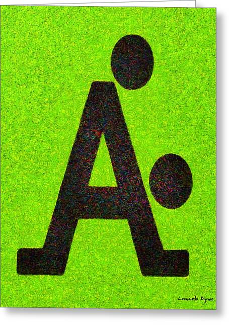 The A With Style Lime - Da Greeting Card