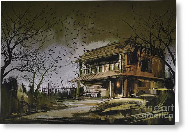 Greeting Card featuring the painting The Abandoned House by Tithi Luadthong