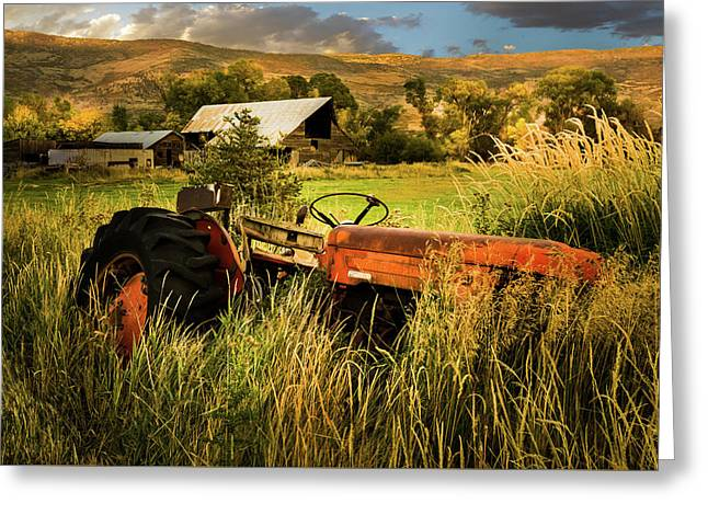 The Abandoned Tractor - 2 Greeting Card by TL Mair