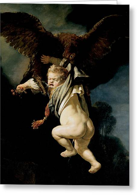 The Abduction Of Ganymede Greeting Card by Rembrandt
