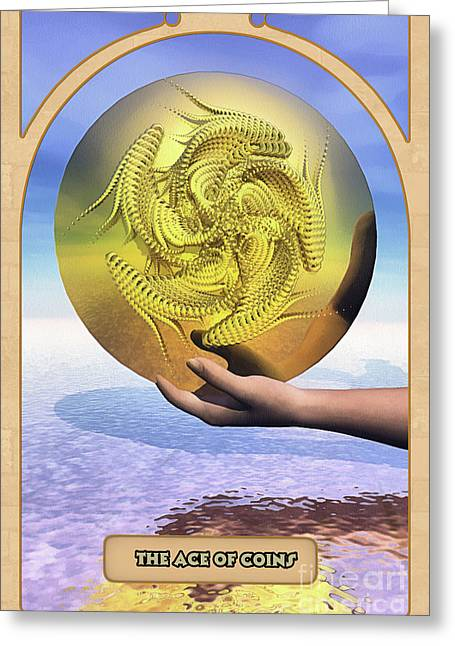 The Ace Of Coins Greeting Card by John Edwards