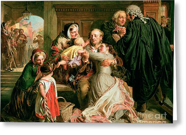 The Acquittal Greeting Card by Abraham Solomon