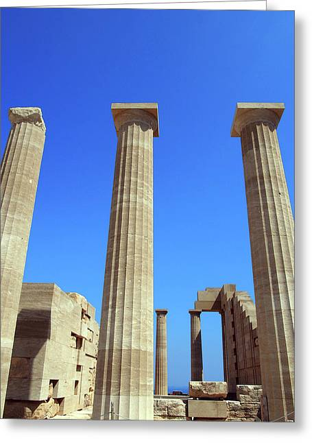 The Acropolis And Lindos In Rhodes With Columns And Ruins Greeting Card
