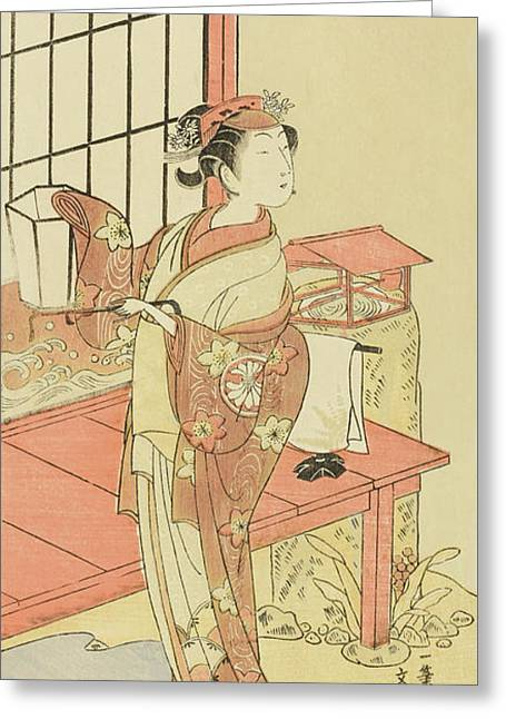 The Actor Segawa Kikunojo II, Possibly As Princess Ayaori In The Play Ima O Sakari Suehiro Genji  Greeting Card by Ippitsusai Buncho