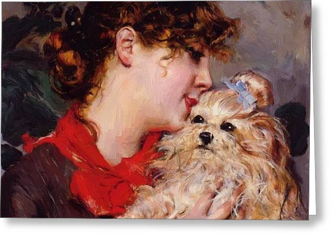 The Actress Rejane And Her Dog Greeting Card