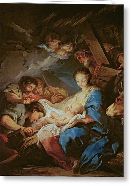 The Adoration Of The Shepherds Greeting Card by Charle van Loo