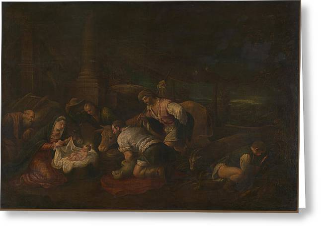 The Adoration Of The Shepherds Greeting Card by Follower of Jacopo Bassano
