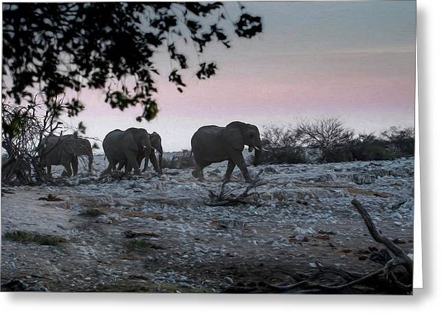 Greeting Card featuring the digital art The African Elephants by Ernie Echols
