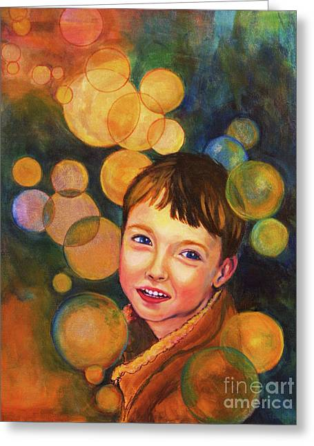 Greeting Card featuring the painting The Afterglow by Angelique Bowman