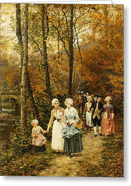 The Afternoon Stroll Greeting Card by Marie Francois Firmin Girard