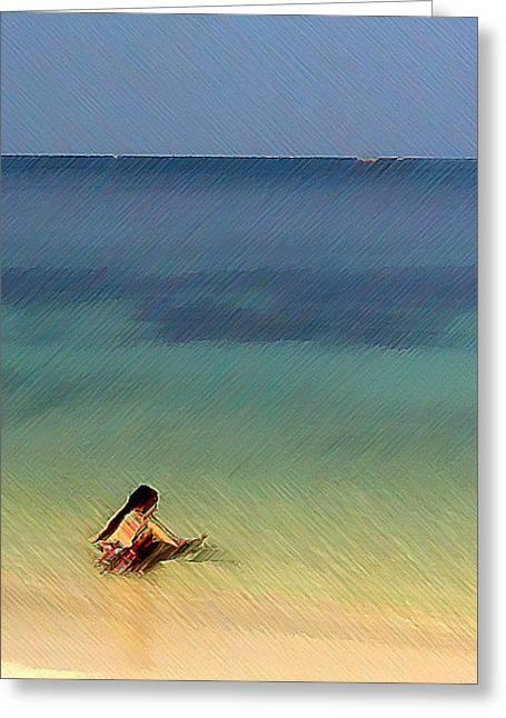 The Afternoon Swim 2 Greeting Card by Padamvir Singh