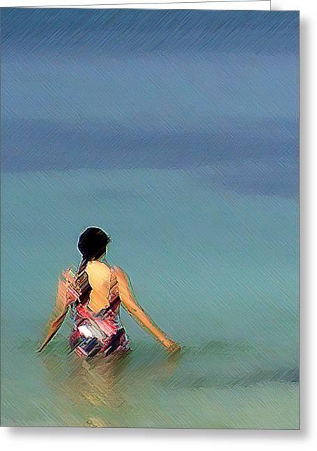 The Afternoon Swim Greeting Card by Padamvir Singh