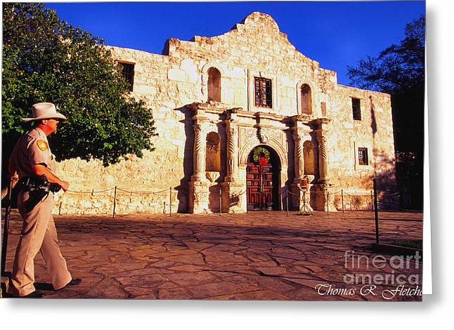 The Alamo And Ranger Greeting Card by Thomas R Fletcher