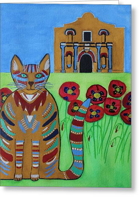 the Alamo Cat Greeting Card