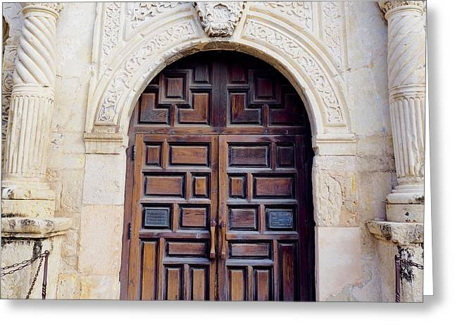 The Alamo - Door Greeting Card by Sheila Harnett & The Alamo - Door Photograph by Sheila Harnett