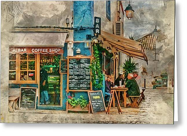 The Albar Coffee Shop In Alvor. Greeting Card