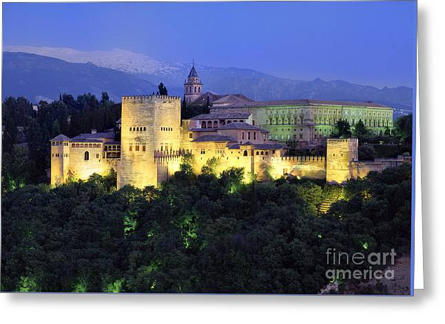 The Alcazaba And Sierra Nevada Greeting Card by Guido Montanes Castillo