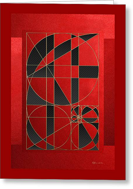 The Alchemy - Divine Proportions - Black On Red Greeting Card by Serge Averbukh