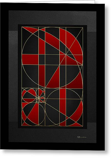 The Alchemy - Divine Proportions - Red On Black Greeting Card by Serge Averbukh
