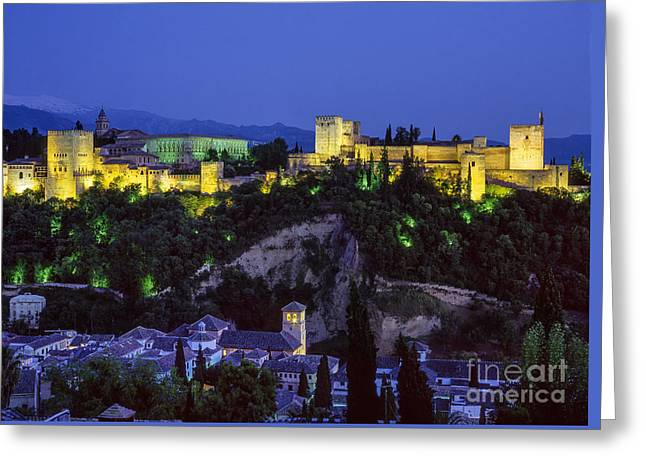 The Alhambra And Sierra Nevada At Blue Hour Greeting Card by Guido Montanes Castillo