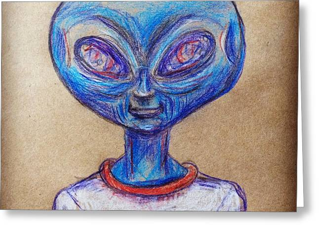 The Alien Is L-i-v-i-n Greeting Card