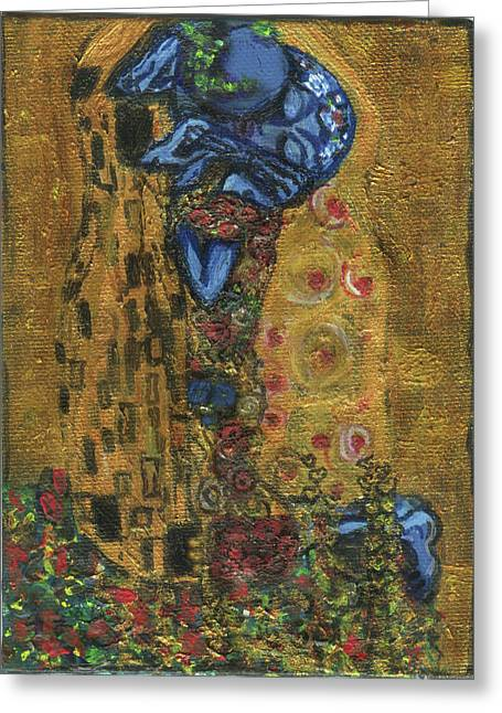 Greeting Card featuring the painting The Alien Kiss By Blastoff Klimt by Similar Alien