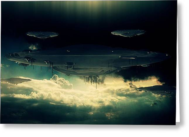 The Aliens Are Here By Raphael Terra Greeting Card by Raphael Terra