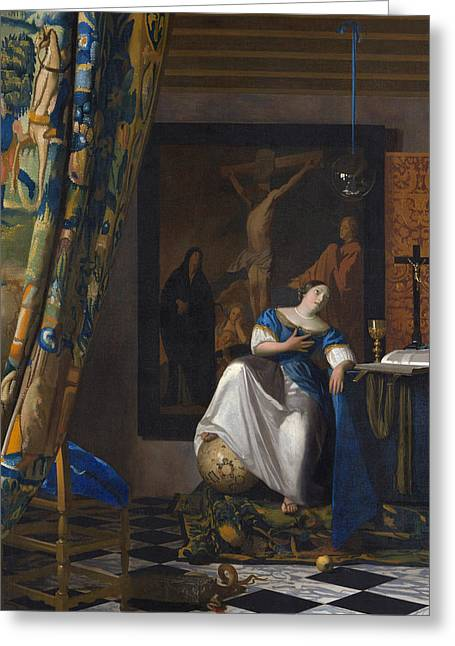 The Allegory Of The Faith Greeting Card by Jan Vermeer