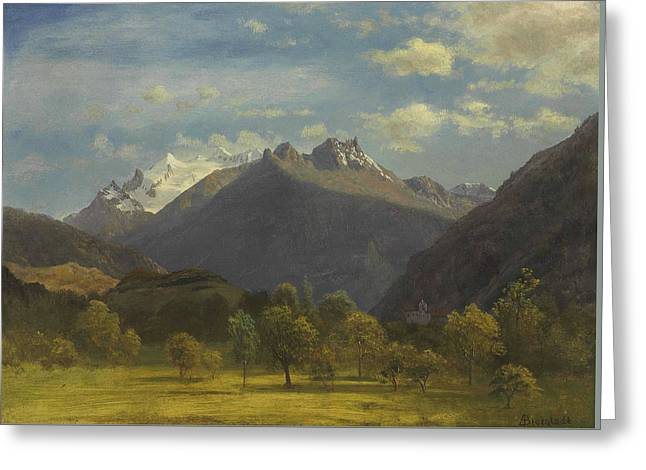 The Alps From Visp Greeting Card by Albert Bierstadt