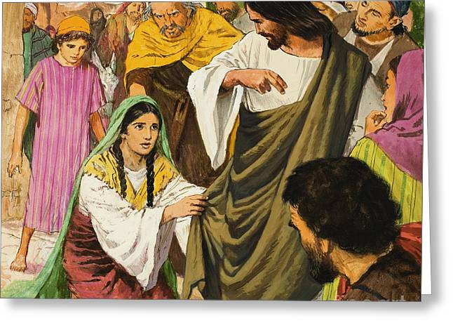 The Amazing Love Of Jesus  The Woman In The Crowd Greeting Card by Clive Uptton