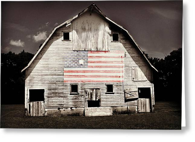 Flag Of Usa Greeting Cards - The American Farm Greeting Card by Julie Hamilton