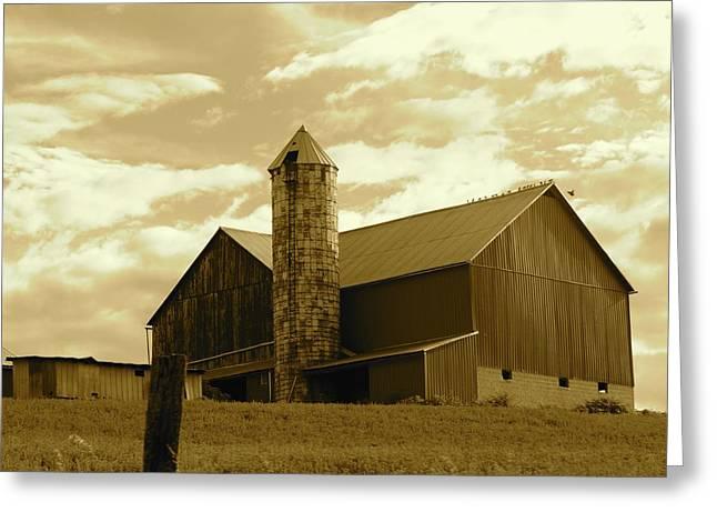 The Amish Silo Barn Greeting Card