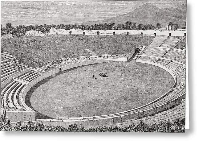 The Amphitheatre, Pompeii, Naples Greeting Card